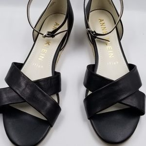 Anne klein iflex wedge heel black leather sz 8.5